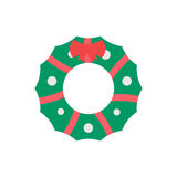 Christmas Wreath Vector Icon. New Year and Christmas wreath flat design icon isolated on white background Royalty Free Stock Photos