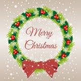 Christmas wreath vector illustration. Merry Christmas congratulations. Christmas wreath vector illustration. Merry Christmas Royalty Free Stock Images