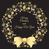 Christmas wreath vector illustration. Merry Christmas congratulations Royalty Free Stock Photo
