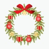 Christmas wreath vector image. Print. Isolated object. Card. Ico Stock Image