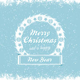 Christmas wreath vector message bue Stock Photography