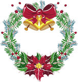 Christmas Wreath Vector with red bow and poinsettia Stock Photos
