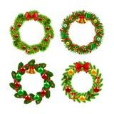 Christmas wreath vector set Stock Photos