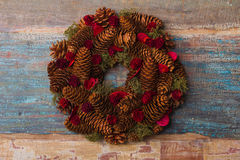Christmas wreath with vintage patina background Stock Photography