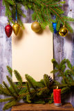 Christmas wreath on wall Stock Images