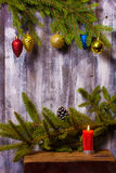 Christmas wreath on wall Royalty Free Stock Images