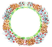 Christmas wreath. watercolor Royalty Free Stock Image
