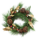 Christmas wreath on white background. Closeup of artificail christmas wreath decorated with buttons and bells. Square crop isolated on white Stock Images