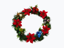 Christmas wreath with white background Royalty Free Stock Image