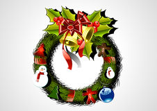 Christmas wreath in white background. With bells Stock Photos