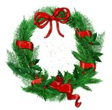 Christmas wreath on a white background. royalty free stock images