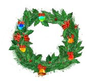 Christmas wreath on a white background. stock image