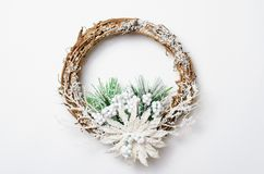 Christmas Wreath on White Background, Top View stock image
