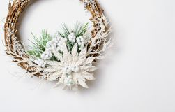 Christmas Wreath on White Background, Top View royalty free stock photography