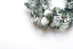 Christmas Wreath on White Background, Top View stock photos