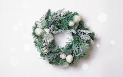 Christmas Wreath on White Background, Top View royalty free stock images