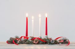 Christmas wreath on white background. Christmas wreath on white wooden table stock photography