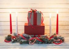 Christmas wreath on white background. Christmas wreath on white wooden table stock photo