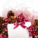 Christmas wreath and white card. Royalty Free Stock Photo