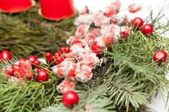 Christmas wreath on white. Christmas wreath decoration on white background stock images