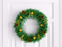 Christmas wreath on the white door 3d rendering Royalty Free Stock Image
