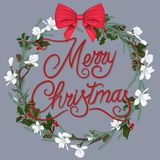 Christmas wreath with white flowers and a red bow vector illustration