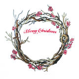 Christmas wreath on white. Hand drawn sketch. Christmas branches wreath on white. Hand drawn sketch Royalty Free Stock Photo