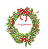 Christmas wreath on white. Hand drawn sketch. Christmas green wreath on white. Hand drawn sketch Royalty Free Stock Images