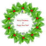 Christmas wreath on white Royalty Free Stock Photos