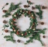 Christmas wreath on a white vintage background Royalty Free Stock Photos