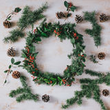 Christmas wreath on a white vintage background Royalty Free Stock Images