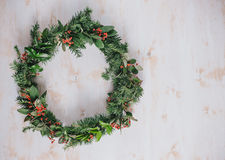 Christmas wreath on a white vintage background Royalty Free Stock Photography