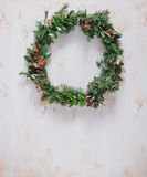 Christmas wreath on a white vintage background Stock Image