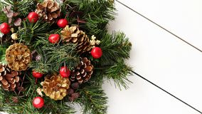 Christmas Wreath on White Wooden Background stock photos