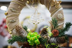 Christmas wreath whith two bells Royalty Free Stock Images