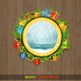 Christmas wreath on the window. Winter forest with snowstorm behind the window Royalty Free Stock Image