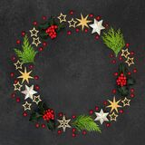 Christmas Wreath with Winter Greenery and Stars