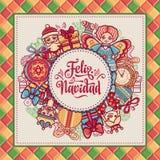 Christmas wreath. Winter toys - Santa Claus, Nutcracker, Reindeer, gift box. Balls, garlands. Greeting message in Spanish - Feliz Navidad. Festive ornamental Stock Images