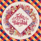 Christmas wreath. Winter toys - Santa Claus, Nutcracker, Reindeer, gift box. Balls, garlands. Greeting message in Spanish - Feliz Navidad. Festive ornamental Stock Photos