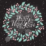 Christmas wreath with the wish a Happy New Year Royalty Free Stock Photo
