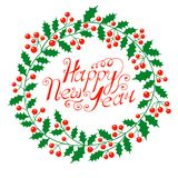 Christmas wreath with the wish a Happy New Year Royalty Free Stock Photos