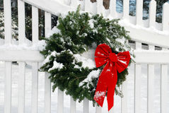 Christmas Wreath With Snow Royalty Free Stock Photography