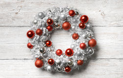 Christmas Wreath Wood Background, Holiday Decoration Balls Royalty Free Stock Photography