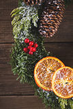 Christmas wreath on the wood Royalty Free Stock Image