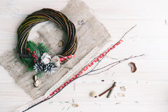Christmas wreath. On a wooden background Royalty Free Stock Image