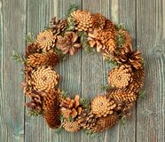 Christmas wreath on wooden background as Christmas decoration.  royalty free stock photography