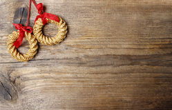 Christmas wreath on wooden background Stock Photography