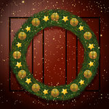 Christmas wreath on a wooden background vector illustration