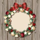 Christmas wreath on wooden door Stock Photo