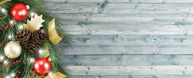 Christmas wreath on wooden door, 3d render illustration stock image